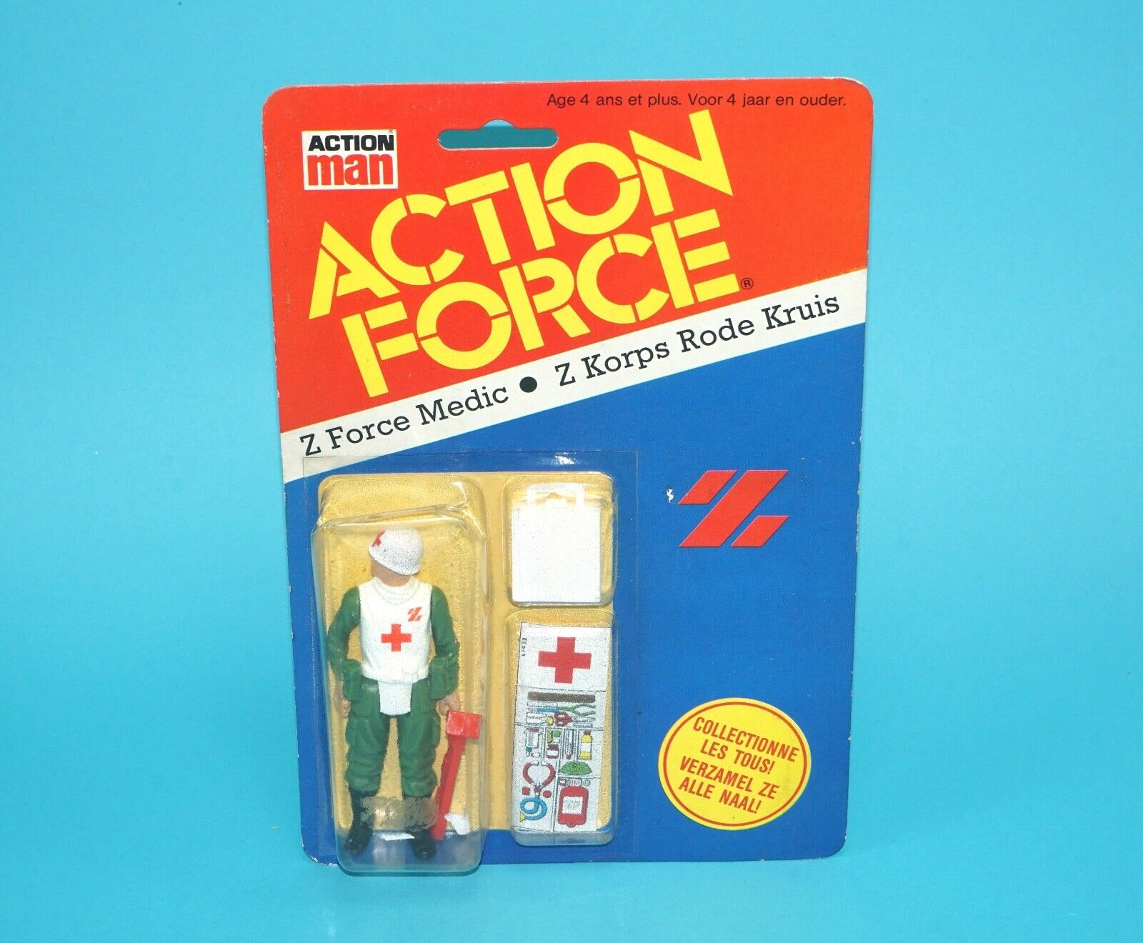 1983 GI JOE   ACTION FORCE Z FORCE MEDIC MOC MOSC NL FR BENELUX CARD CLIPPER