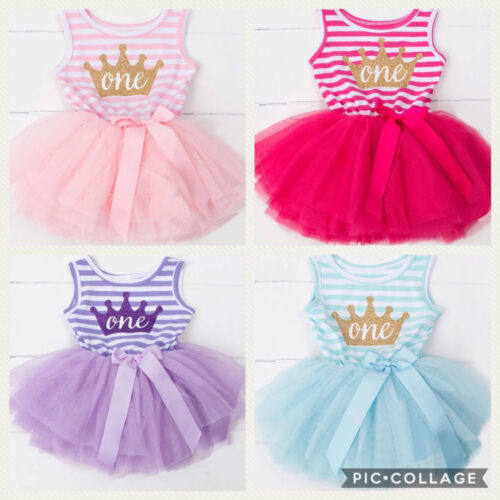 Baby Girls First 1st Birthday Tutu Dress Outfit Cake Smash Pink Aqua Lilac Party