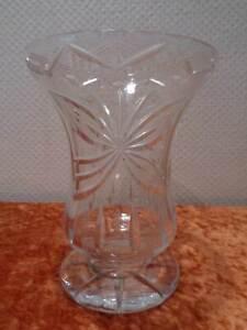 Heavy-Design-Crystal-Glass-Vase-Decor-Hand-Cut-1-2-kg-Vintage