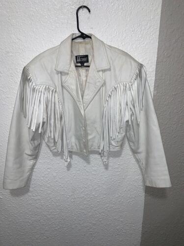 Vtg COMINT  Westwear White Leather Jacket Blazer F