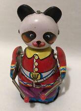 """Vintage Windup Drumming Panda #309 MS 566 Tin Toy Red Purple Works China 4 1/4"""""""