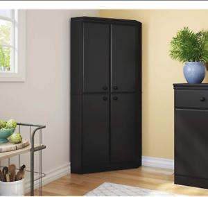 Details about Corner Kitchen Cabinet Storage Pantry Black Tall Bathroom  Cupboard Shelves Doors