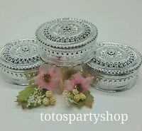 12 Sliver Round Plastic Trinket Box Fillable Wedding Favor Table Decorations