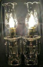 Pair Art Deco Lamps, Drop Prism, Boudoir, Dining Room, Vanity, Vintage