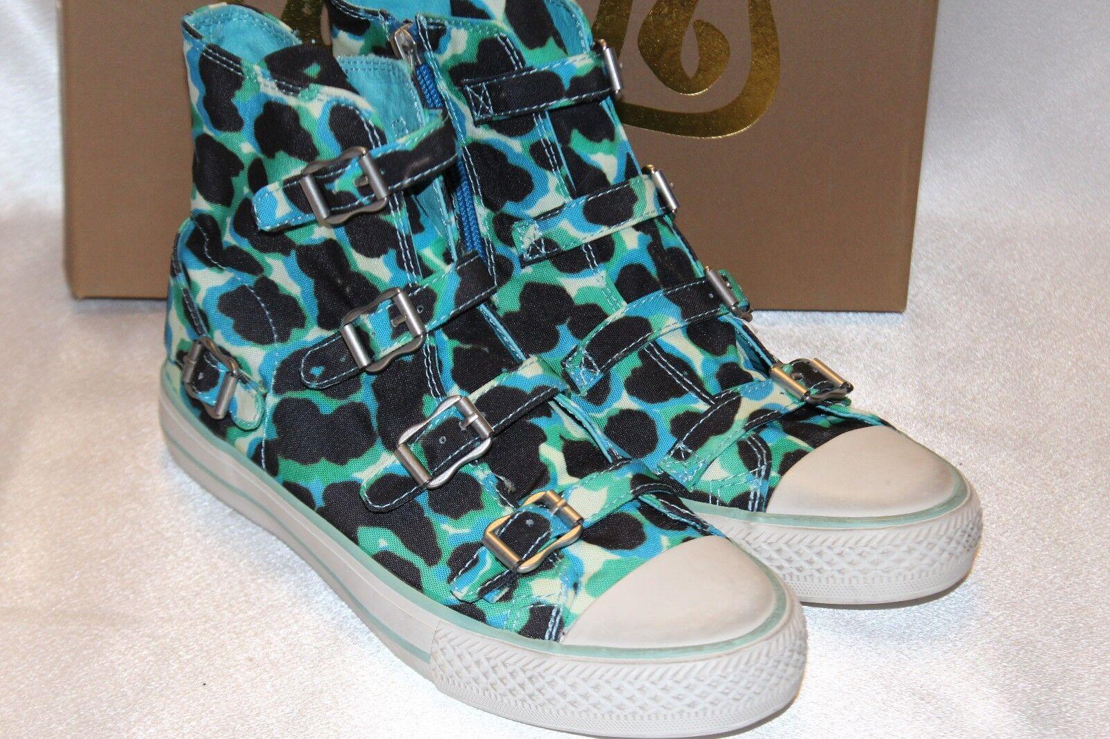 NEW NIB ASH bluee Green Jaguar Canvas VIRGIN BIS High High High Hi Top Buckle Sneaker Sz 9 a15473