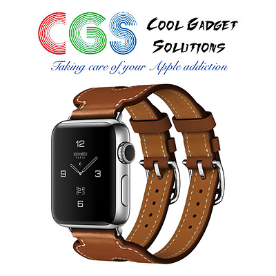 Apple Watch Hermes Series 2, Double Buckle Cuff 38mm Fauve Barenia Brown Leather