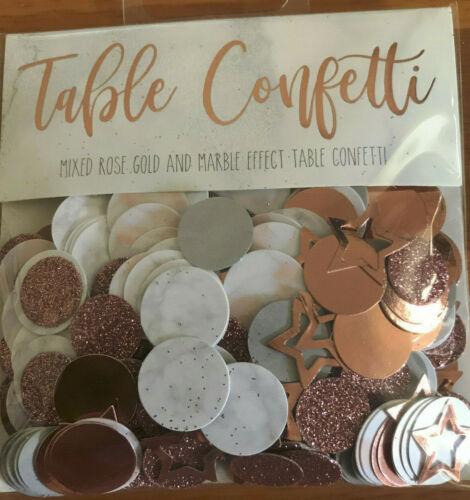 14gm or Rose /& EFFET MARBRE Mixte Table Confettis Disques paillettes étoiles