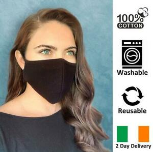 BREATHABLE-REUSABLE-amp-WASHABLE-BLACK-FACE-MASK-COTTON-IRELAND-2-DAY-DELIVERY