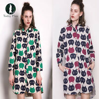 Womens Ladies Summer Long Sleeve Shirt Dress Cat Printed Blouse Top Size 10-20