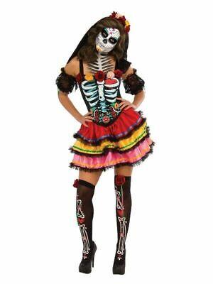 Day of the Dead Skeleton Bone Print Rose Halloween Costume Thigh High Stockings