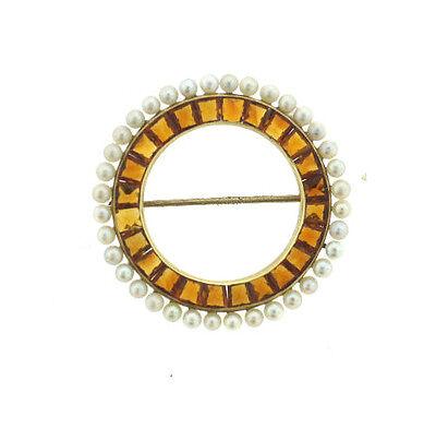 UNIQUE RETRO  C1940 CARTIER NY CIRCLE PIN CLIP BROOCH 14K GOLD CITRINE PEARL
