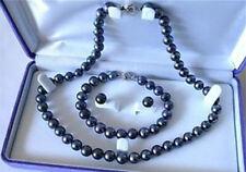 6-6.5mm Black Akoya Cultured Pearl Necklace Bracelet Earring Set LL006