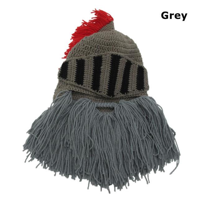 e0eeabcf082 1pc Thermal Roman Helmet Barbarian Knight Knit Beard Funny Ski Mask ...