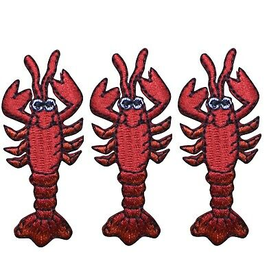Red Lobster Crawfish Applique Patch 3-Pack, Iron on