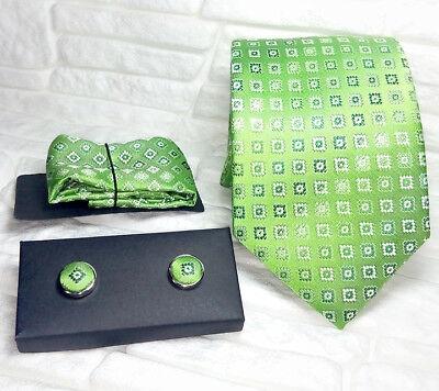 Cravatta Gemelli Coordinati Pochette 100% Seta Made In Italy Handmade
