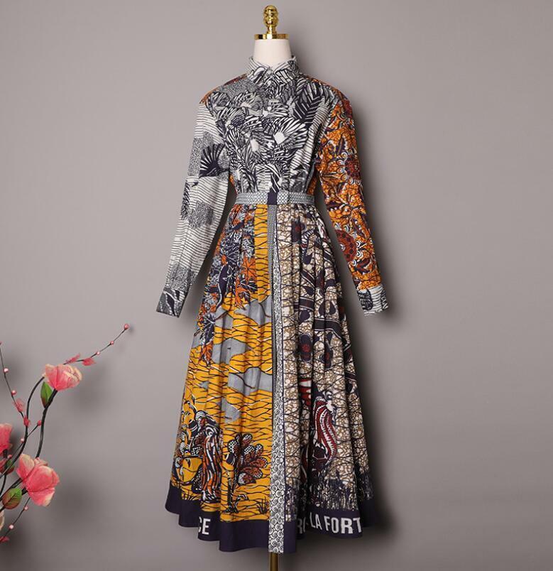 2020 Womens Designer Inspired Forest Pattern Cotton Multicolor Long Skirt+shirt