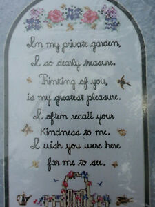 SANDI PHIPPS Counted Cross Stitch Kit #177C MY PRIVATE GARDEN 11-1/2 x 6-1/2 NEW