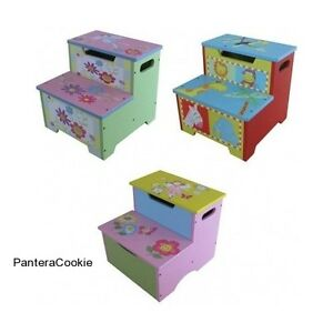 Wooden-Storage-Step-Stool-Toy-Box-Childrens-Kids-Bedroom-Furniture-Naughty-Chair