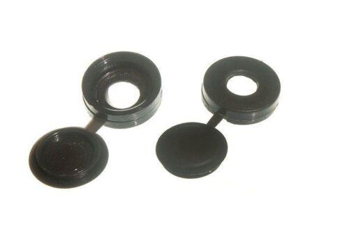 * Packs 200 x Taille 6 /& 8 bouchon à vis avec couvercle à charnière Noir 8F1