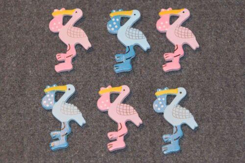 6 x Storch Störche blau//rosa Holzfigur Streudeko Scrapbooking Deko Geburt Taufe