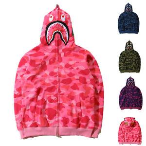 A-Bathing-Ape-Bape-Shark-Jaw-Camo-Full-Zipper-Hoodie-Men-039-s-Sweats-Coat-Jacket