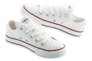 Converse-Chuck-Taylor-All-Star-White-Low-Top-Kids-Youth-Boy-Girl-Size-11-3-New