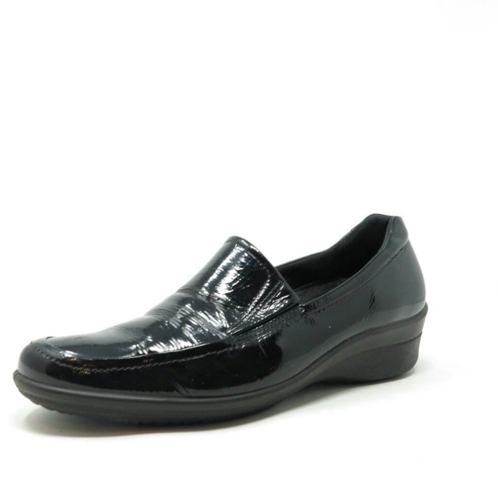 ECCO Corse Women's Wedge Loafers Black Patent Leather shoes Sz 10 - 10.5 EU 41