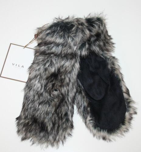 "VILA Handschuhe Fäustlinge /""Smilla Fur Mittens/"" Kunstfell schwarz Gr S//M NEU"