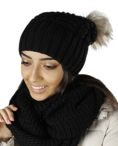 Schal NEU Winter Set Long Beanie Stick-Schal Bommel Kunstfell 671 Mütze HIT