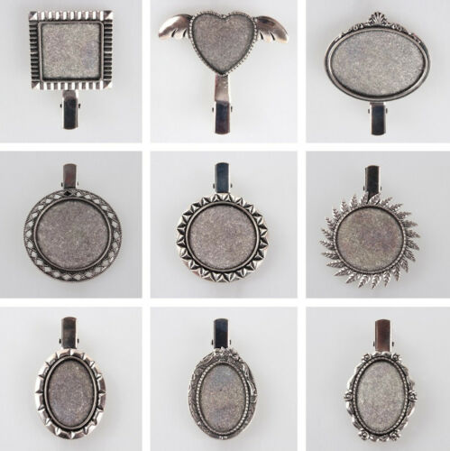 10pc Vintage Antique Silver  Alligator Hair Clip Finding Cabochon Bezel Tray Set