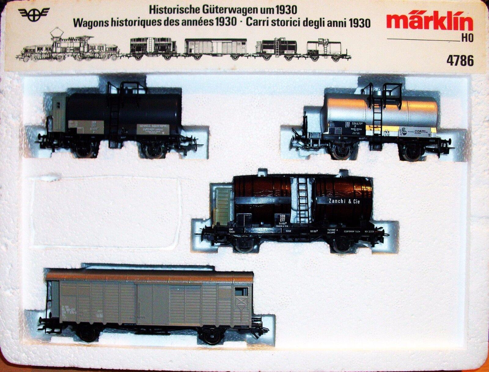 Märklin 4786 h0 SBB vagones set para 1930 para cocodrilo 4 vagones como nuevo en OVP
