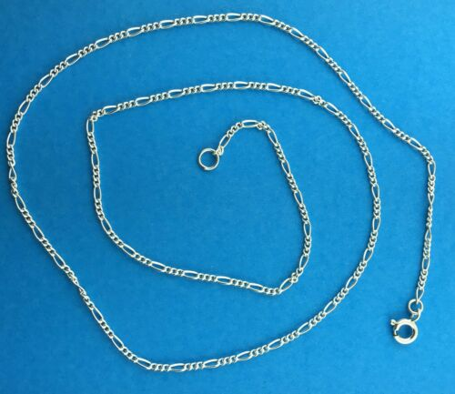"""925 Solid Sterling Silver Figaro 1.6mm Necklace Bracelet Anklet Chains 6/"""" to 30/"""""""