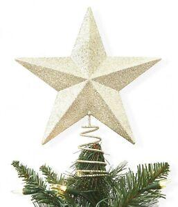 Wondershop-7-5-034-Unlit-Metal-Glitter-Star-Christmas-Tree-Topper-Gold-NEW-in-BOX