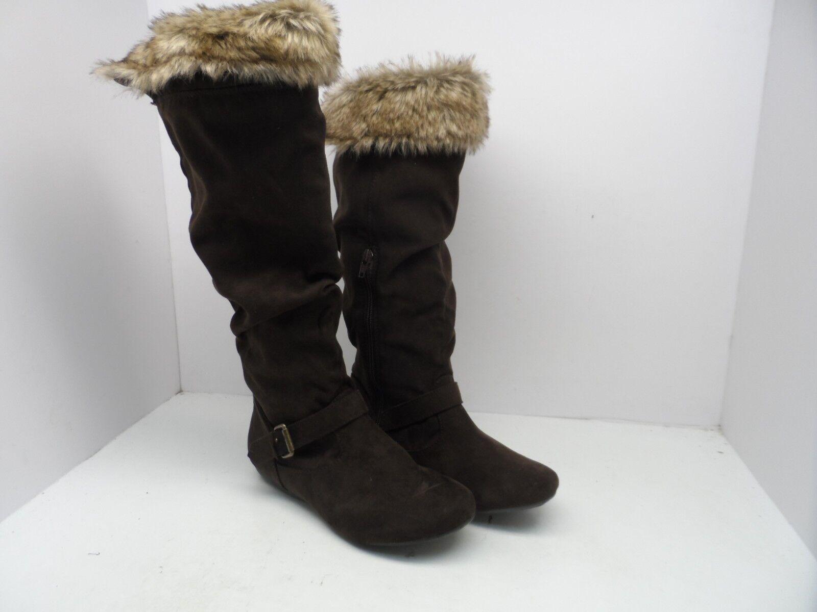 New Direction Women's Sierra Faux Fur Lined Winter Boot Brown Size 6.5M