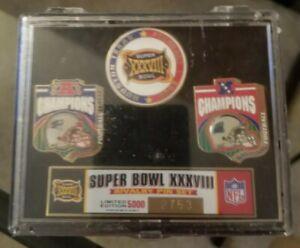 Patriots Super Bowl XXXVIII (38) Champions Rivalry Pin Set Patriots vs. Panthers