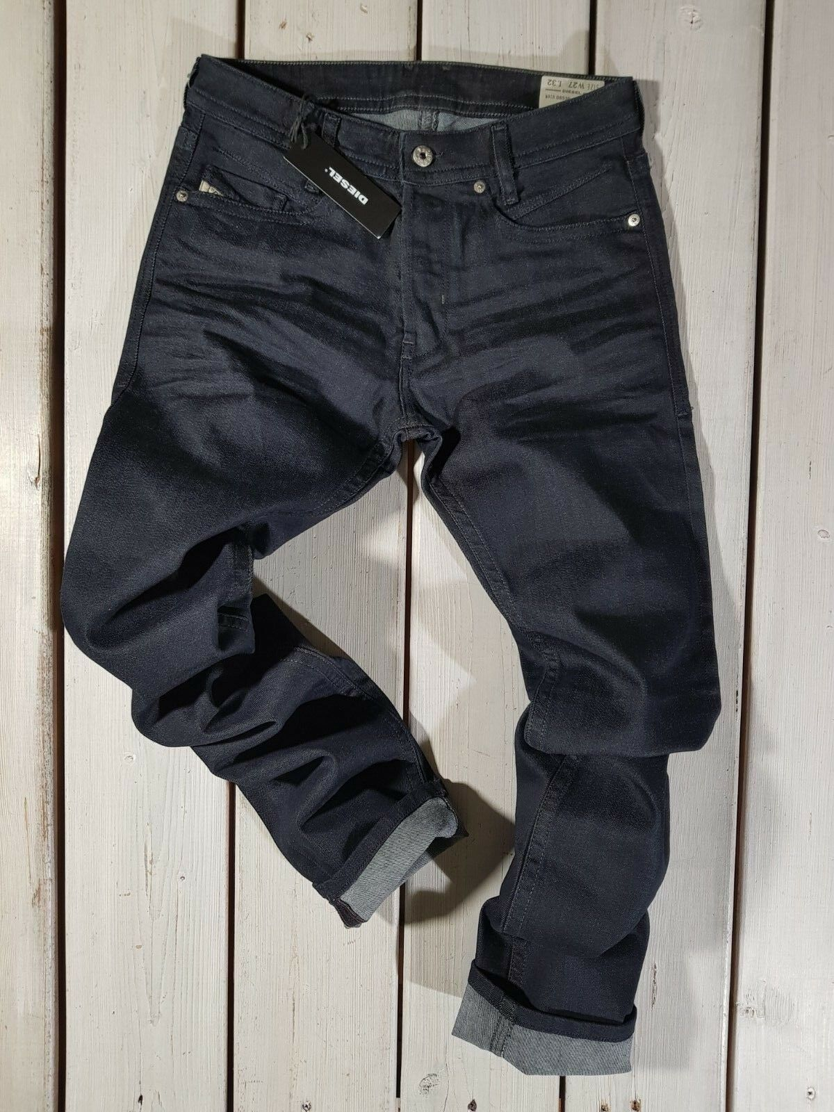 RRP NEW DIESEL MEN'S JEANS AKEE 0853N REGULAR SLIM TAPERED STRETCH blueE