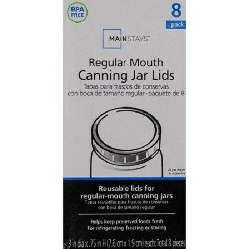 """Mainstays 3/"""" White Plastic Regular Mouth Reusable Canning Jars 8 Count"""