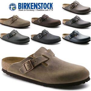 9-Color-Unisex-BIRKENSTOCK-BOSTON-Leather-NARROW-Footbed-EU34-47