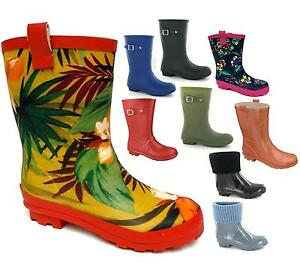 WOMENS-LADIES-NEW-WIDE-CALF-FITTING-SHORT-WELLIES-RAIN-SNOW-WELLINGTON-BOOTS