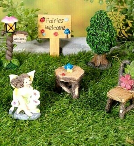 """height of largest 8cm New 6-Piece Fairies Welcome Garden Ornaments Size . 3/"""""""