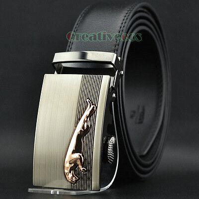 Fashion Men's Dress Adjustable Automatic Buckle Genuine Leather Waist Strap Belt