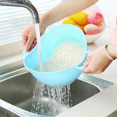 Practical Double Handle Wash Rice Vegetable Basket Strainer Colander Strainer AU
