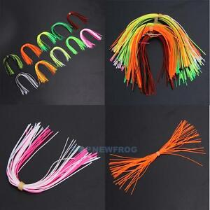10-Bundles-50-Strands-Silicone-Skirts-Fishing-Skirt-Rubber-Jig-Lure-Mixed-Color