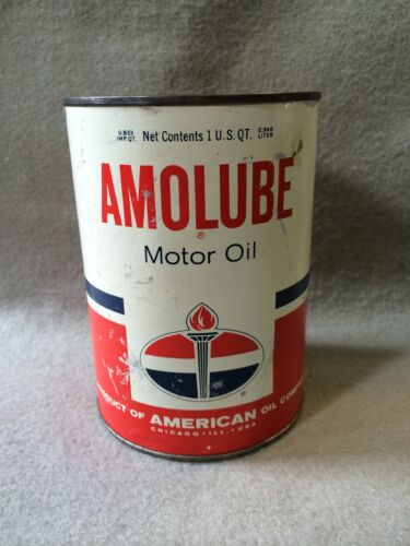 Vintage American AMOLUBE Motor Oil Gas Station Advertising Can 1 QT Sign