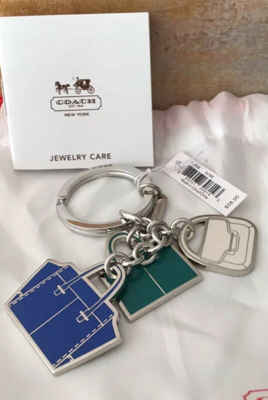 Fine Nwt Coach Silver Keychain With 3 Purse Bag Charms ! Green Blue White Novel (In) Design;
