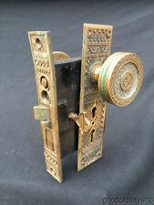 Old P & F Corbin Antique Chicago 1880's Ornate Brass Door Knob Set w/ Lock Key
