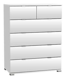 Kommode Weiss B 80 Cm 6 Schubladen Schrank Schlafzimmer Aufbewahrung