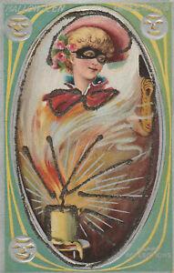S21-1675-Vintage-Halloween-Postcard-Masquerade-Woman-Mask-Glitter-c-1910