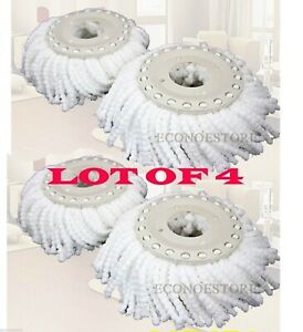 Lot-Of-4-Replacement-Microfibric-Mop-Head-Refill-4-Hurricane-Magic-Mop-360-Spin