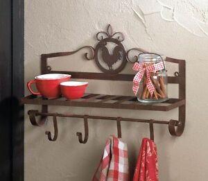 Rooster Kitchen Organizer Wall Mount Hanging Pot Pan Rack
